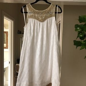 Anthropologie white & gold mini dress (never worn)